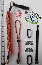 NEVERLOST Rod, Kayak, Paddle Leash w/ Quick Release. Extends 9FT+ Fireball