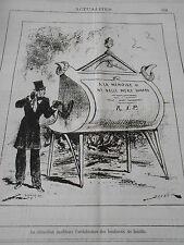 Caricature 1882 La Crémation A la mémoire de ma belle mère