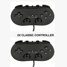 2X NEW BLACK CLASSIC CONTROLLER FOR NINTENDO WII & U CONSOLE +WARRANTY+UK SELLER