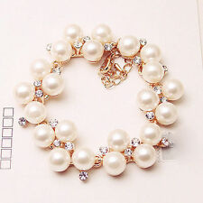 Womens Fairy Pearl Zircon Rose Gold Bracelet Chain Bangle Lady Jewelry Gift US