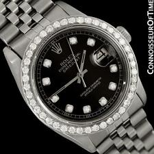 ROLEX DATEJUST Mens Bracelet Watch with Black Dial - SS Steel & 2 Ct. Diamonds