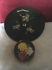 2 Vintage Plastics,Couroc Owl Patterned Cake Stand & Lucite Floral Paperweight.