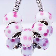 5Pcs 10mm GF Silver Pink Crystal MURANO glass lampwork european beads
