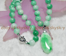 Natural 8mm Multicolor Green Jade Gems Round Beads & Oval Pendant Necklaces AAA