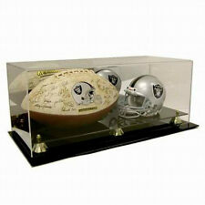 SAF-T-GARD MINI NFL HELMET & FULL SIZE FOOTBALL ACRYLIC DISPLAY CASE AD52