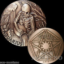 AQUARIUS - SkullCoins 2015 ZODIAC Memento Mori Series 1oz .999 COPPER Art Round