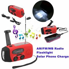 Wind Up/ Solar/ Dynamo Powered AM/FM Radio& LED Flashlight Torch& Phone Charger~