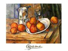Paul Cezanne Kettle glass and plate with fruit Poster Kunstdruck Bild 60x80cm