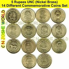 Very Rare 14 Different Nickel Brass 5 Rupees Commemorative Five Rupees UNC Set
