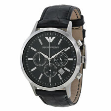 Emporio Armani AR2447 Black Leather Silver Chronograph Mens Watch RRP £249