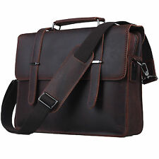 "Genuine Leather Messenger Laptop Case 14"" Retro Style Business Notebook Bag"