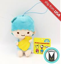 "Sanrio Little Twin Stars 4.7"" Plush Kiki banana Blue Keychain Strap Doll Mascot"