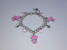 CARE BEAR Inspired Adjustable Charm BRACELET Free GIFT Bag Pink