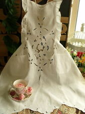 White Ruffled Victorian HAND Embroidered Tea Party Full Apron Wedding LINEN New