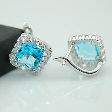 18k White Gold GF Huggie Earrings with Square 8mm Aquamarine and Clear CZs New
