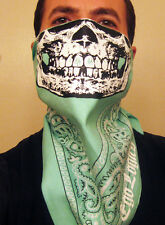 FRESH MINT GREEN PAISLEY SKULL FACE BANDANA MASK DUST RAVE SNOW BOARD SKI NIKE