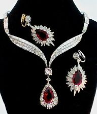 Vtg 1960s MARCEL BOUCHER Ruby Red Teardrop Rhinestone Necklace & Earrings