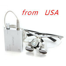 silver Dental Surgical Medical Binocular Loupe 3.5X420mm+ LED Head Light Lamp