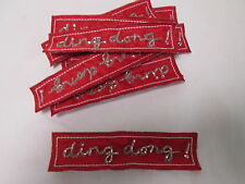 Set of 10 Handmade Christmas Card Embroidered Red Ding Dong Patches Badges #21E9