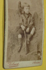 ANTIQUE CABINET PHOTOGRAPH PHOTO YOUNG BOY LONG HAIR WITH A RIFLE