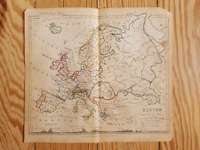 "Map of Europe, 1850, Vintage, hand-coloured, 7x8"", Geography, Germany, Russia"