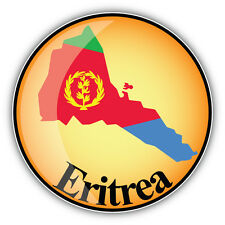 Eritrea Map Flag Label Car Bumper Sticker Decal 5'' x 5''