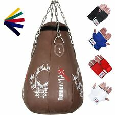 TurnerMAX Leather Maize Punch Bag Ball Uppercut MMA Punching Bag Brown