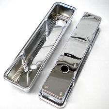 Chrome Small Block Chevy 2 Piece Tall Valve Covers fits 327 350 383 400 Engines