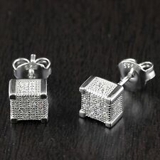 Solid 925 Sterling Silver CZ Micro Pave Setting Square Stud Earrings 6.5mm*6.5mm