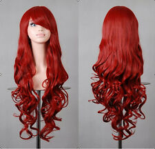 Theme Party Fancy Bright Red Long Curly Wig Wigs Cosplay Costume Women Ladies