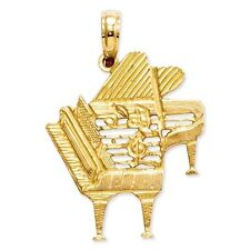 14K SOLID YELLOW GOLD PIANO WITH MUSIC NOTES  PENDANT - 1.7 GRAMS