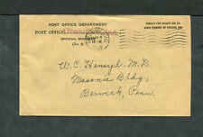 Postal History - Greenfield IN 1940 Black Machine Cancel PO Dept Penalty B0481