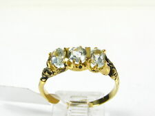 Victorian 14k Gold Sterling Natural 3 Stone Blue Topaz Engraved Ring I063BT