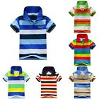 Boys Kids Short Sleeve Stripe T-shirt Polo Shirt Baby Child Clothes Tops Hot L68