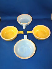 Stoneware Small Condiment Bowls with Handle Yellow & Blue Made in USA #77720 @4