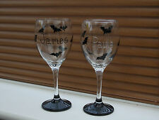 Hand Painted Goth Bats Personlised Wine Pint Glass Birthday,Thankyou,Hen Wedding
