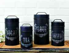New French Country Shabby Black CHALK ART CANISTER SET Flour Sugar Coffee Tea