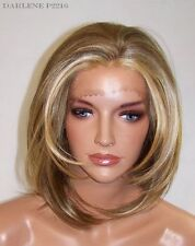 Brown Blonde 2216 Wedge Bob Deep Lace Front Wig Heat Iron safe A-Line 45 Da
