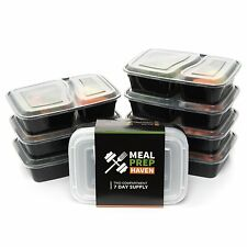 Meal Prep Food Containers Reusable Microwave Safe 2 Compartment Bento 7 pcs