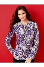 NEW $99 TALBOTS Purple,Gray Baroque Floral Scrolls Blouse,Top Sz 1X ( 14W,16W )