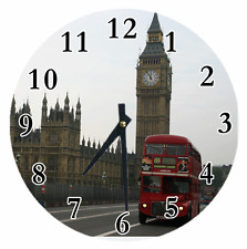 Personalized Clock Any Name DOUBLE DECKER BUS LONDON Red Kitchen Clock Decor Fun