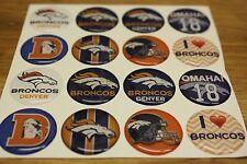 NFL DENVER BRONCOS Epoxy Sticker 1inch round - Bottle Cap Scrapbook Magnet