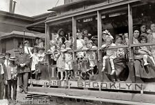 Vintage Old New York  Photo Brooklyn Trolley Street Cars Women Children 1913
