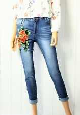 Denim Jeans Hose super Stretch Gr 40  USED Patches Blumen  Blau  Neu