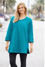 2X 20/22 NWT ULLA POPKEN RAGLAN ROLL SLEEVE KNIT TUNIC OCEAN BLUE - fall fashion