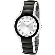 Bulova Men's 98D118 Diamond Collection Black and Silver Tone Dress Watch