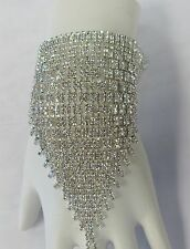 Silver Clear Rhinestone Crystal Slave Bracelet Ring Attached #3389 Bridal Prom