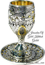 SILVER PLATED KIDDUSH CUP Jewish SHABBAT Goblet & Saucer Jerusalem Of Gold Large