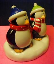 Penguins w Tray Christmas Hallmark Salt Pepper Shakers