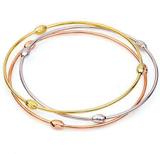 3pcs bangles Set 3 Tone 18k Gold Filled GF Charm Beads Balls Bracelet Lady Teens